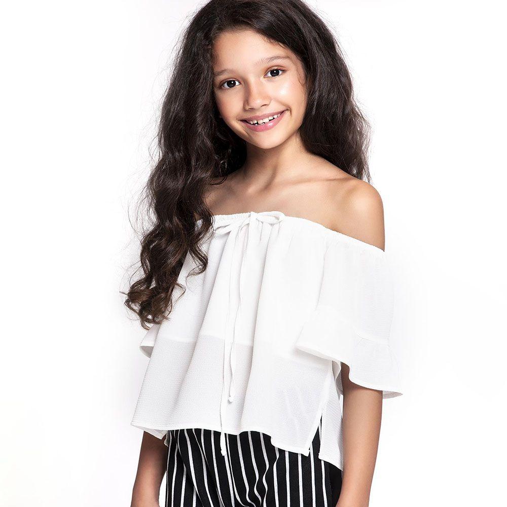 Camiseta Menina Amofany Ombro a Ombro Branco em Tecido 7001739