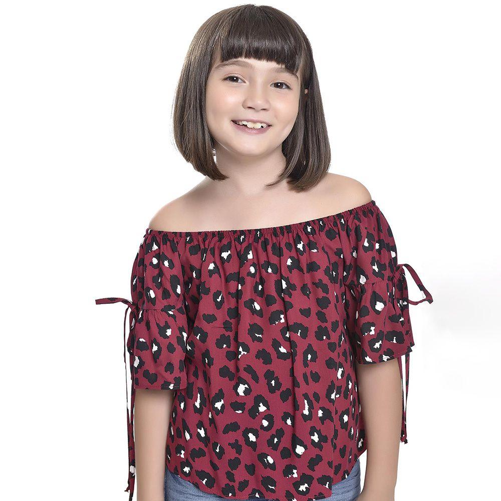 Camiseta Menina Amofany Vermelha Onça 7001736