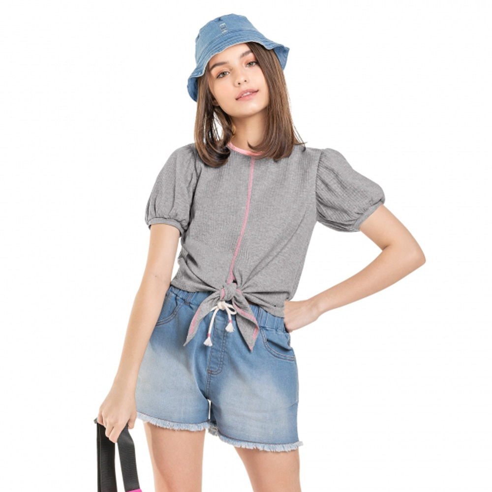 Camiseta Menina Gloss Canelada Cinza 31155