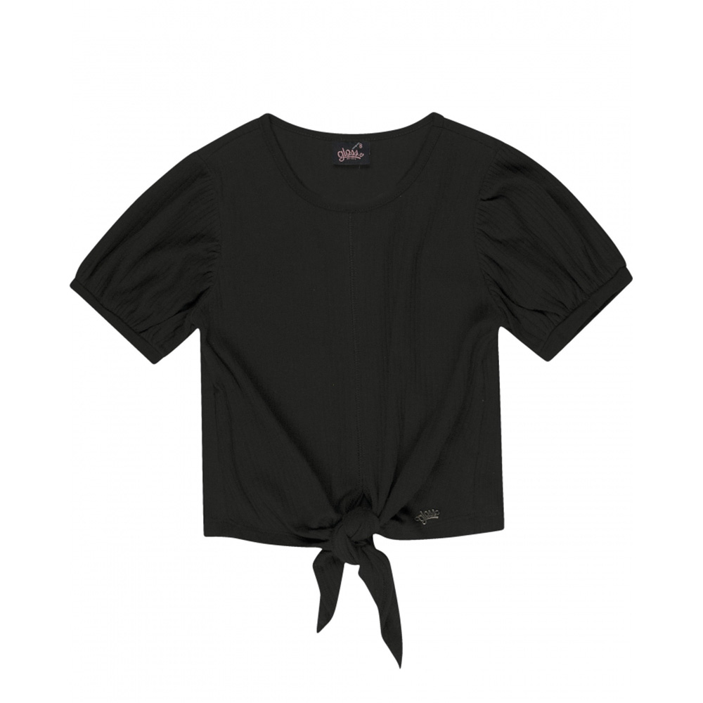 Camiseta Menina Gloss Canelada Preto 31155
