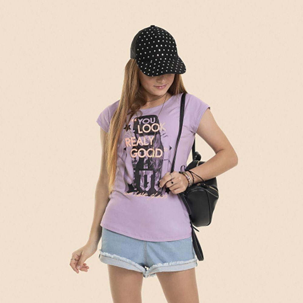 Camiseta Menina Gloss Lilás Look Good 30991