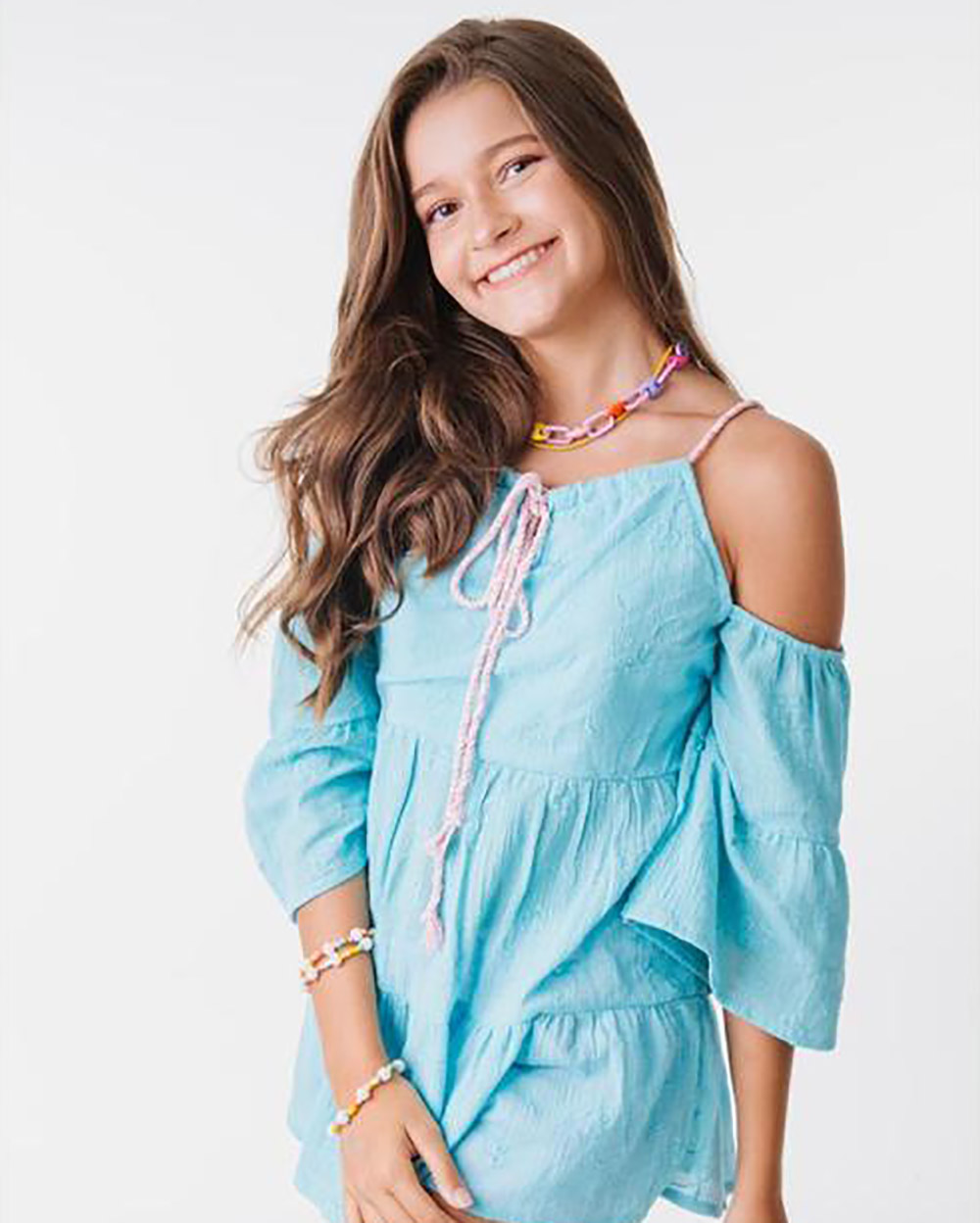 Camiseta Menina L2M Bata Bojo Azul 4293
