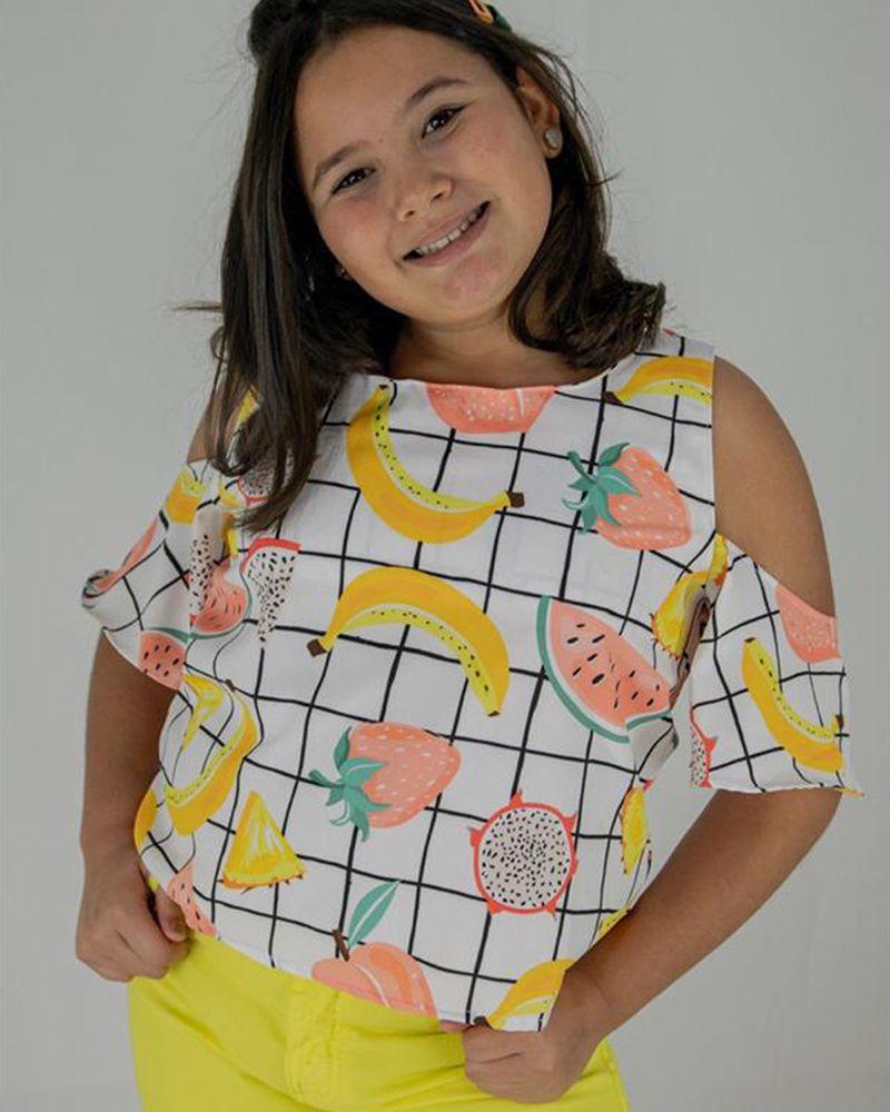 Camiseta Menina L2M Kids Frutas 4094