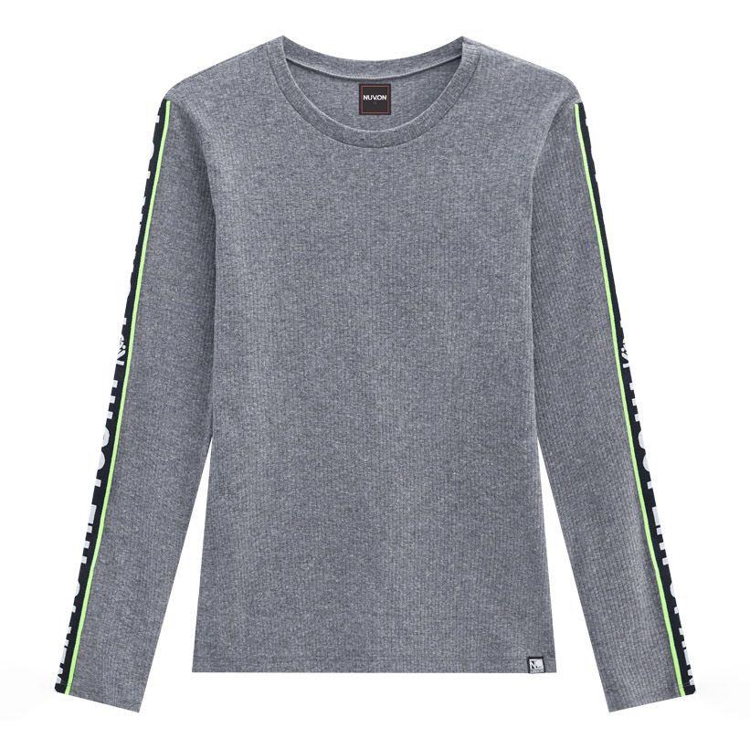 Camiseta Menina Nuv On Cinza Canelada com Faixa Lateral 60310