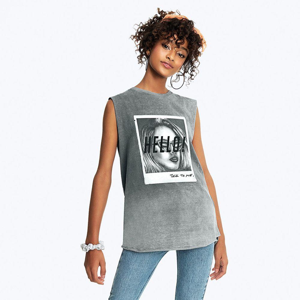 Camiseta Menina Nuv On Cinza Hello 10187