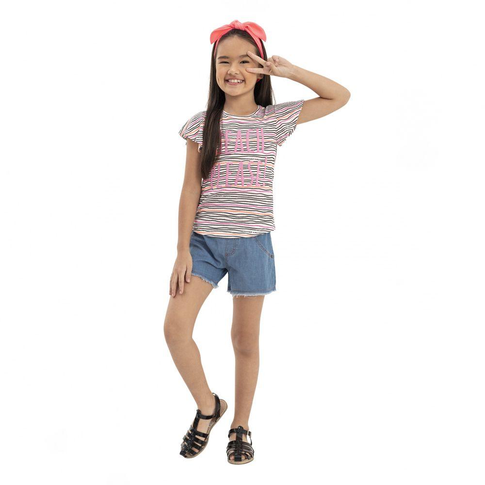 Camiseta Menina Quimby Beach Please Rosa 28104
