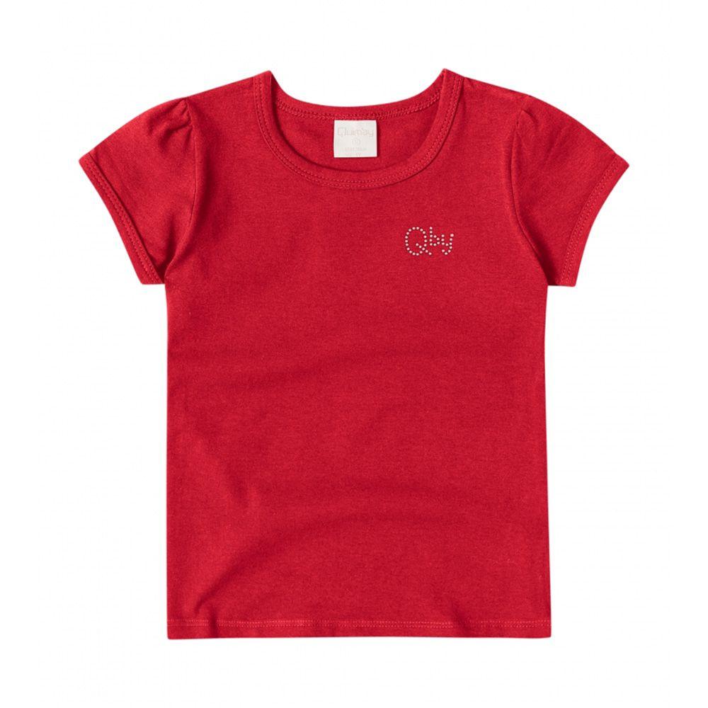 Camiseta Menina Quimby em Cotton Vermelha