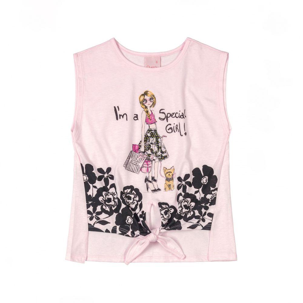 Camiseta Menina Quimby Its A Special Girl Rosa Claro 28123