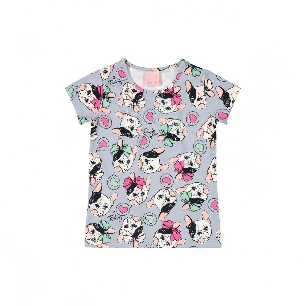 Camiseta Menina Quimby Pug Lilás 28116