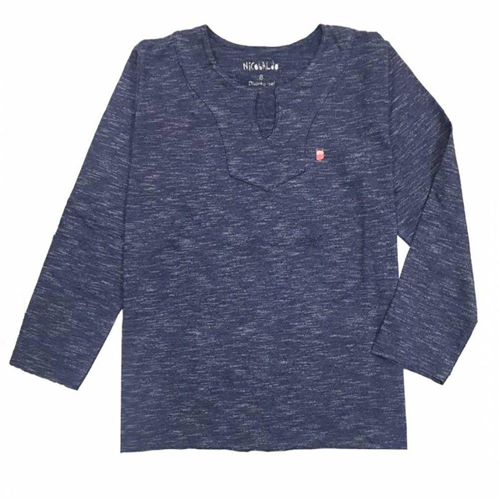 Camiseta Menino Nicobaldo Bata Malha Jeans Batm15