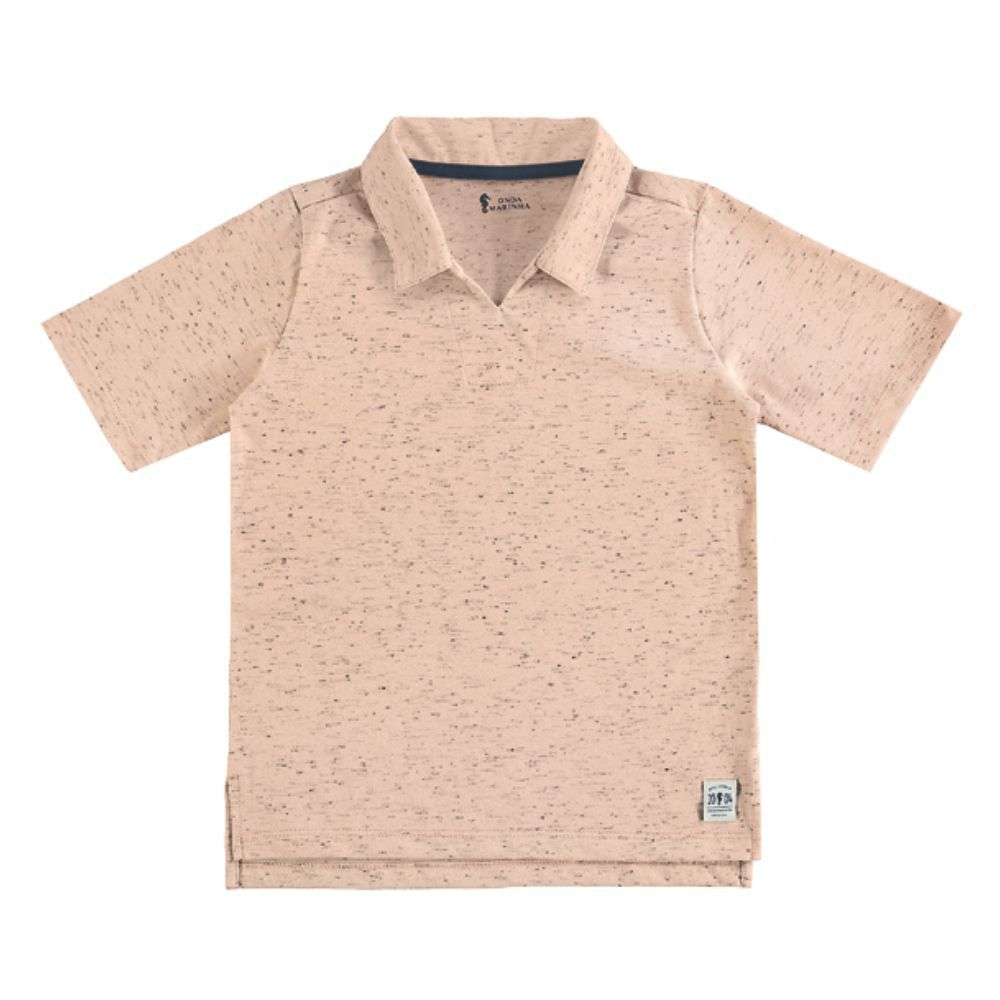 Camiseta Menino Onda Marinha Bata Linho Salmão A1672