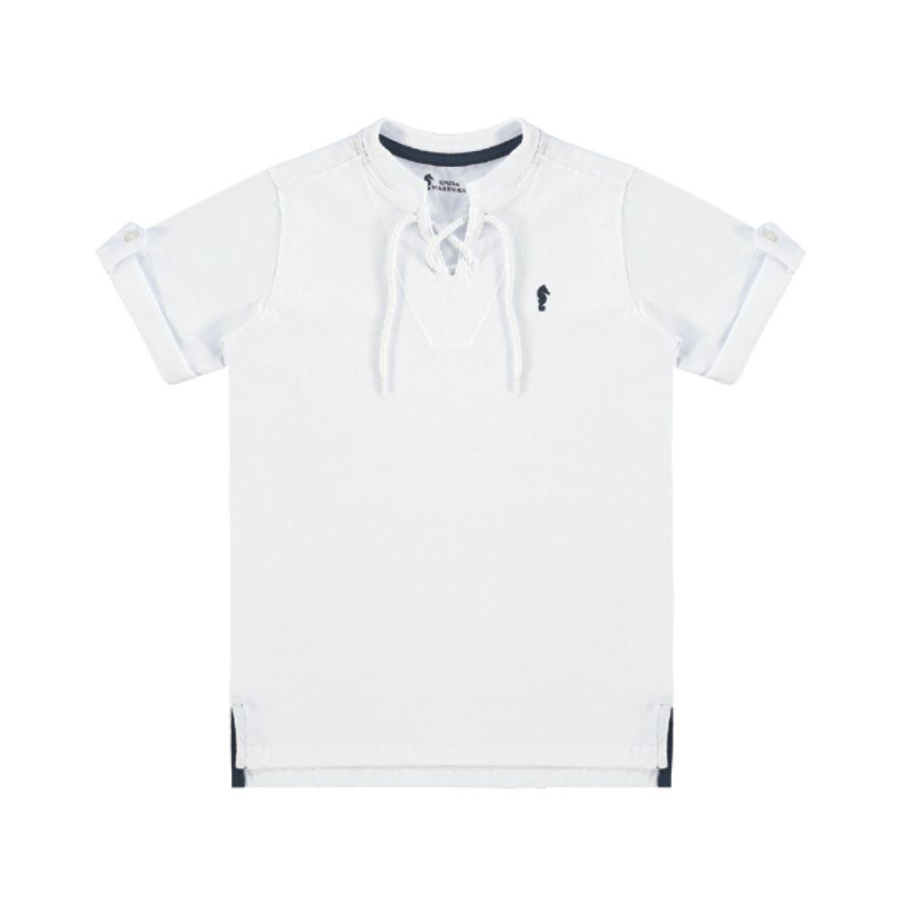 Camiseta Menino Onda Marinha Branca com Corda A1673