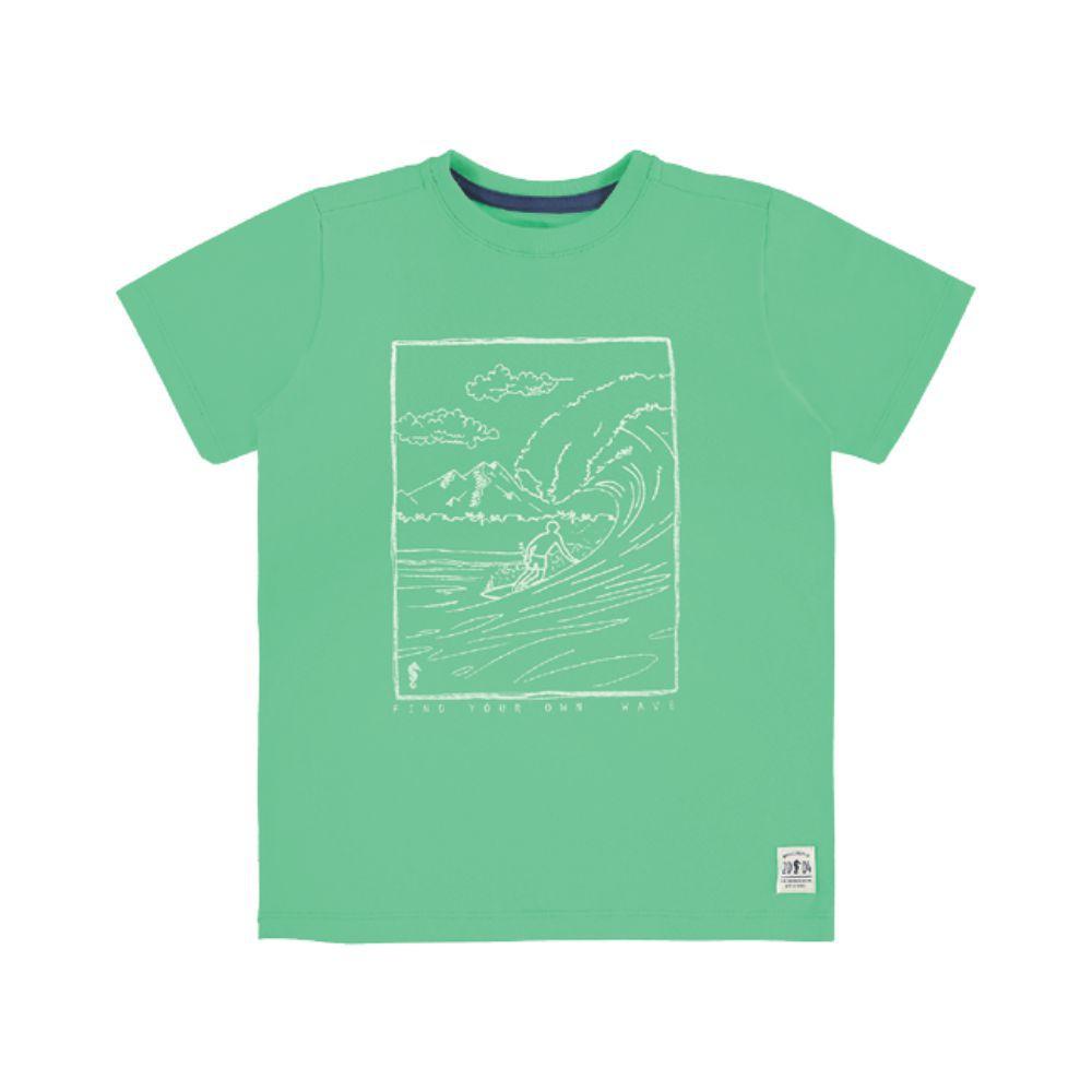 Camiseta Menino Onda Marinha Verde Paisagem A1647