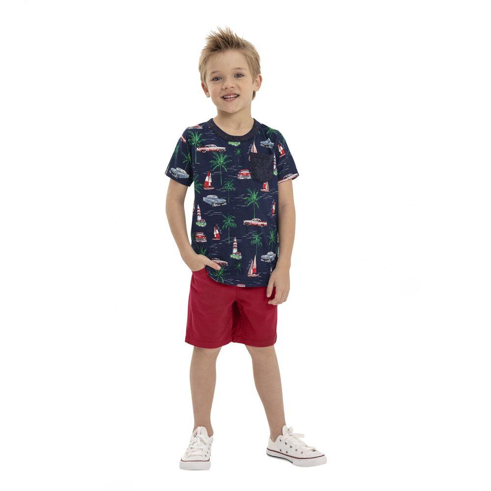 Camiseta Menino Quimby Azul Barco e Farol 28171