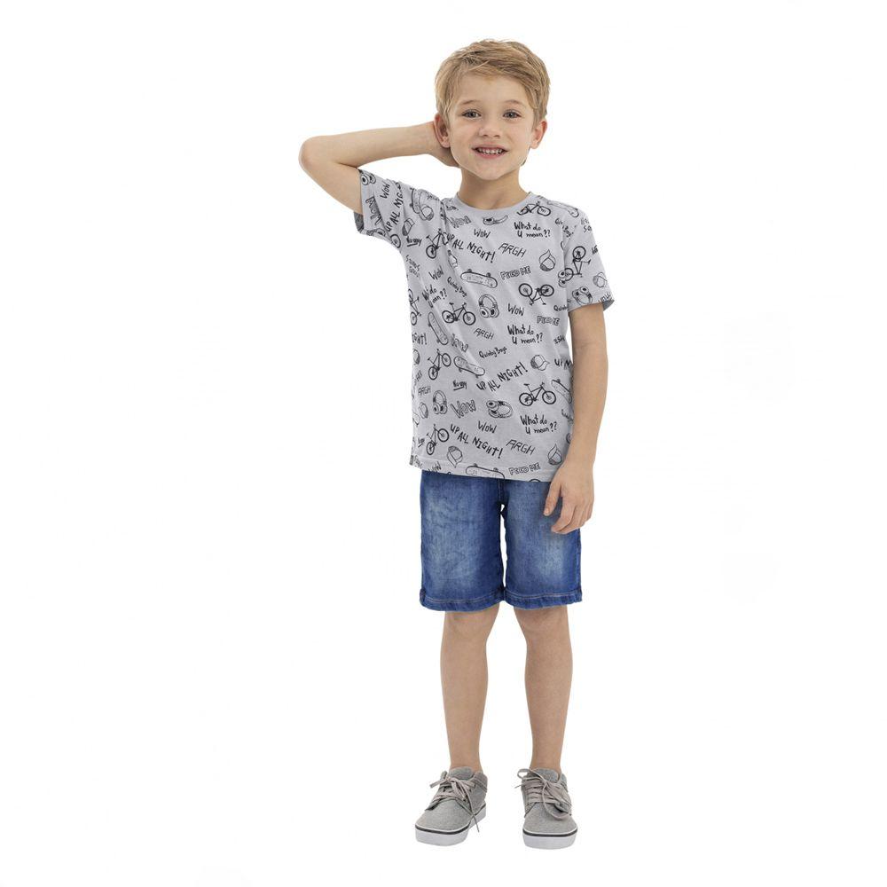 Camiseta Menino Quimby Cinza Fone Bike e Boné 28156