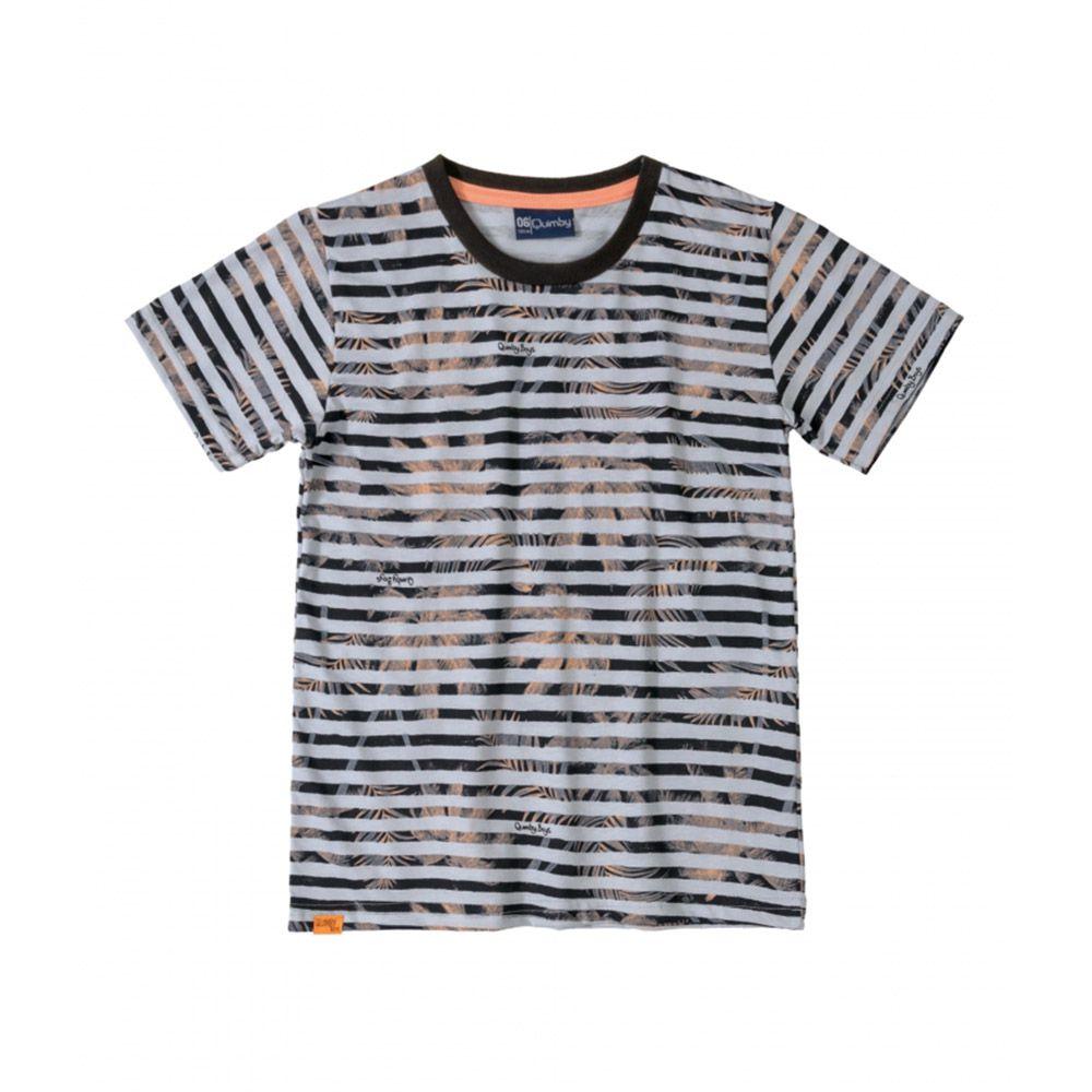Camiseta Menino Quimby Listras Cinza e Coqueiros 28036