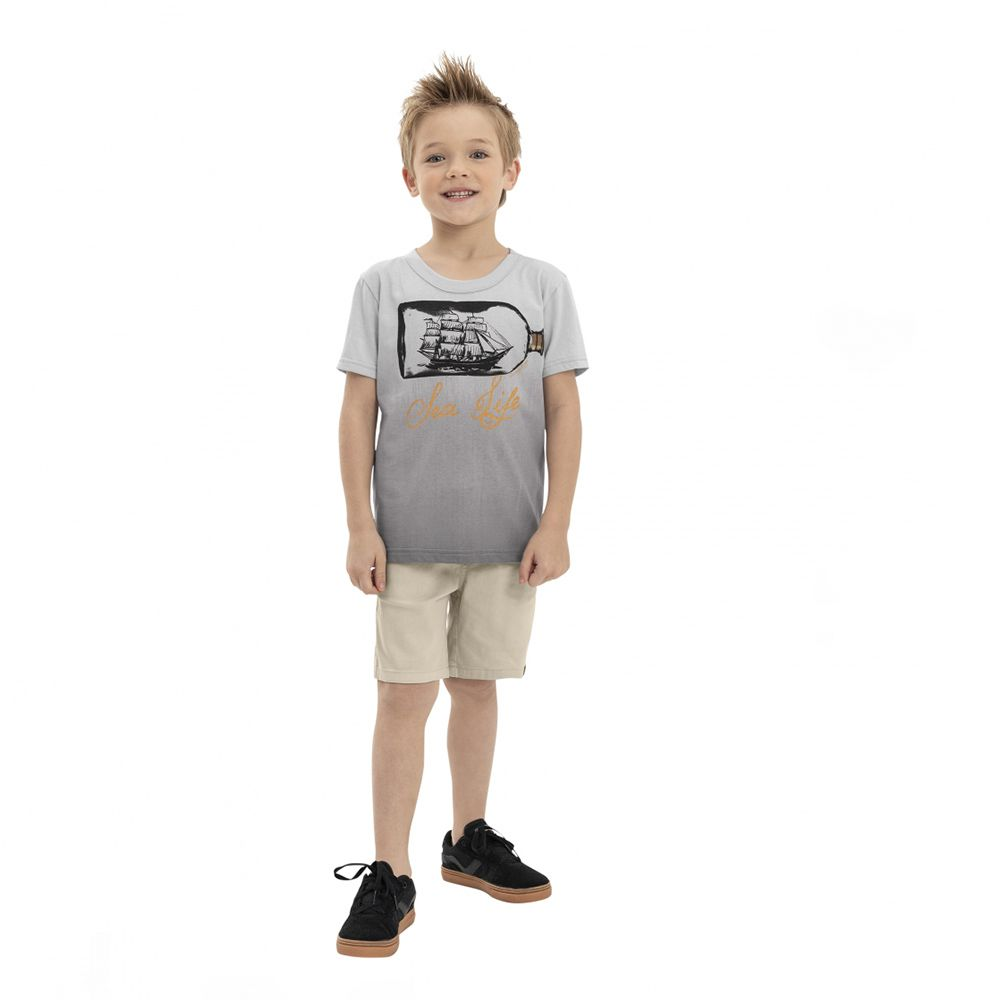 Camiseta Menino Quimby Navio Cinza 28172