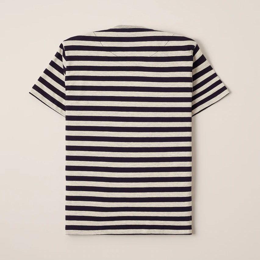 Camiseta Menino Reserva Listra Azul e Cinza e Gola Pois 47102