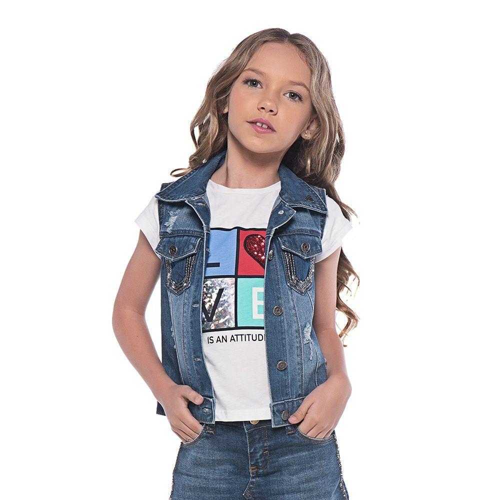 Colete Menina Mania Kids com Paetês 60772