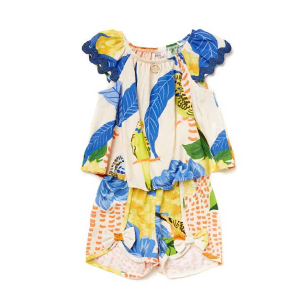 Conjunto Camu Camu Bebê Floral Periquito 8409
