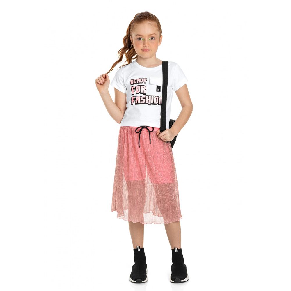 Conjunto Gloss Blusa e Saia Rosa em Tule Brilhoso 31257