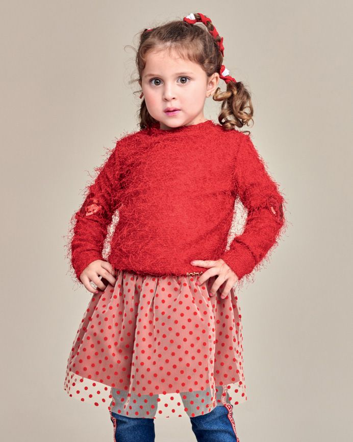 Conjunto Menina Animê Blusa e Saia Poá Vermelha P3671