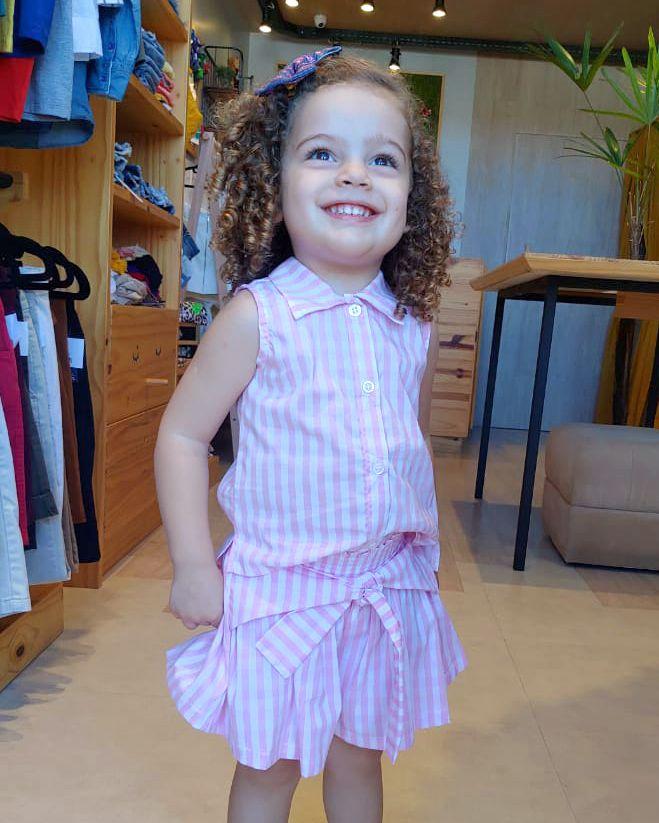 Conjunto Menina Animê Camisete e Saia Xadrez Rosa P3392