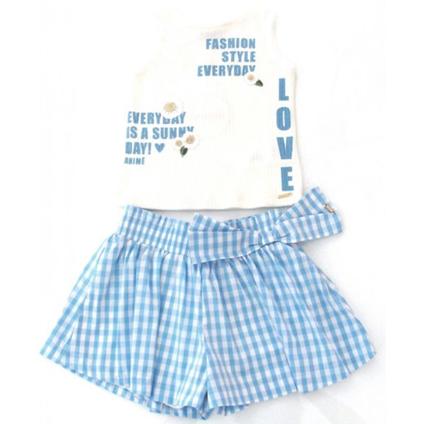 Conjunto Menina Animê Regata e Saia Xadrez Azul P3305