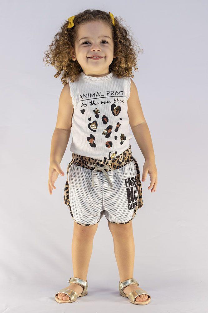 Conjunto Menina Animê Tela Animal Print N0211