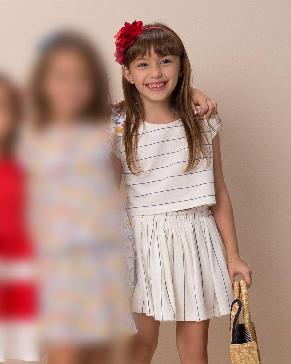 Conjunto Menina Beabá Saia e Blusa Branco com Listra Azul 778003