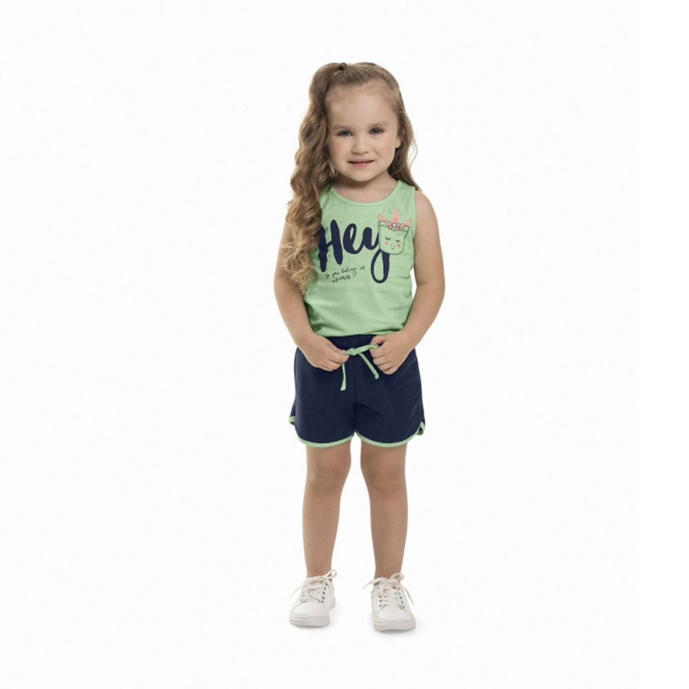 Conjunto Menina Bee Loop Do You Believe Unicorn Verde 13578