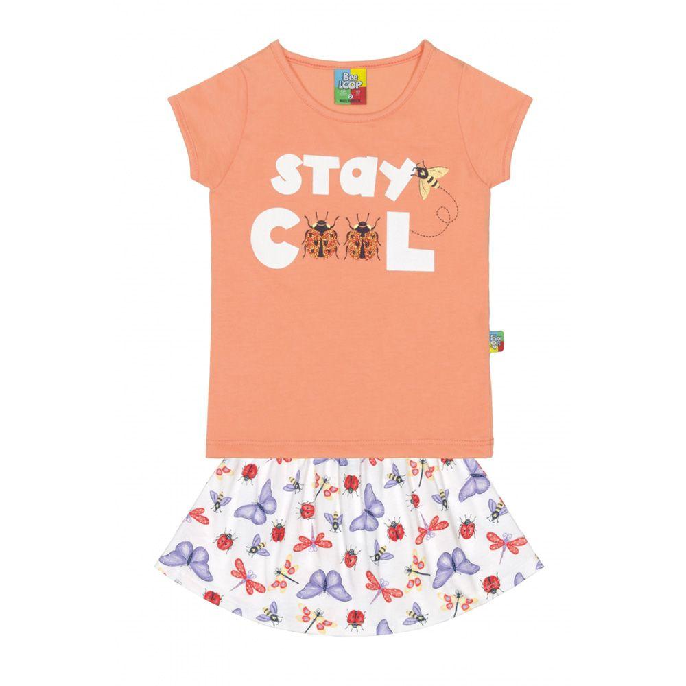 Conjunto Menina Bee Loop Stay Cool Joan Laranja 13457