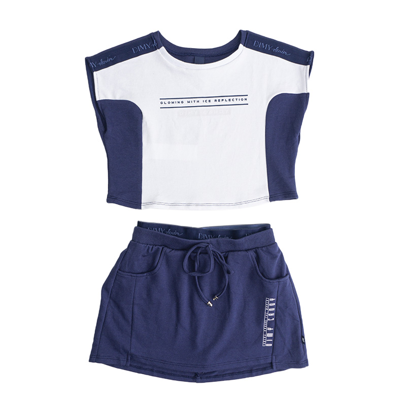 Conjunto Menina Dimy Candy Moletom Azul e Branco 82403