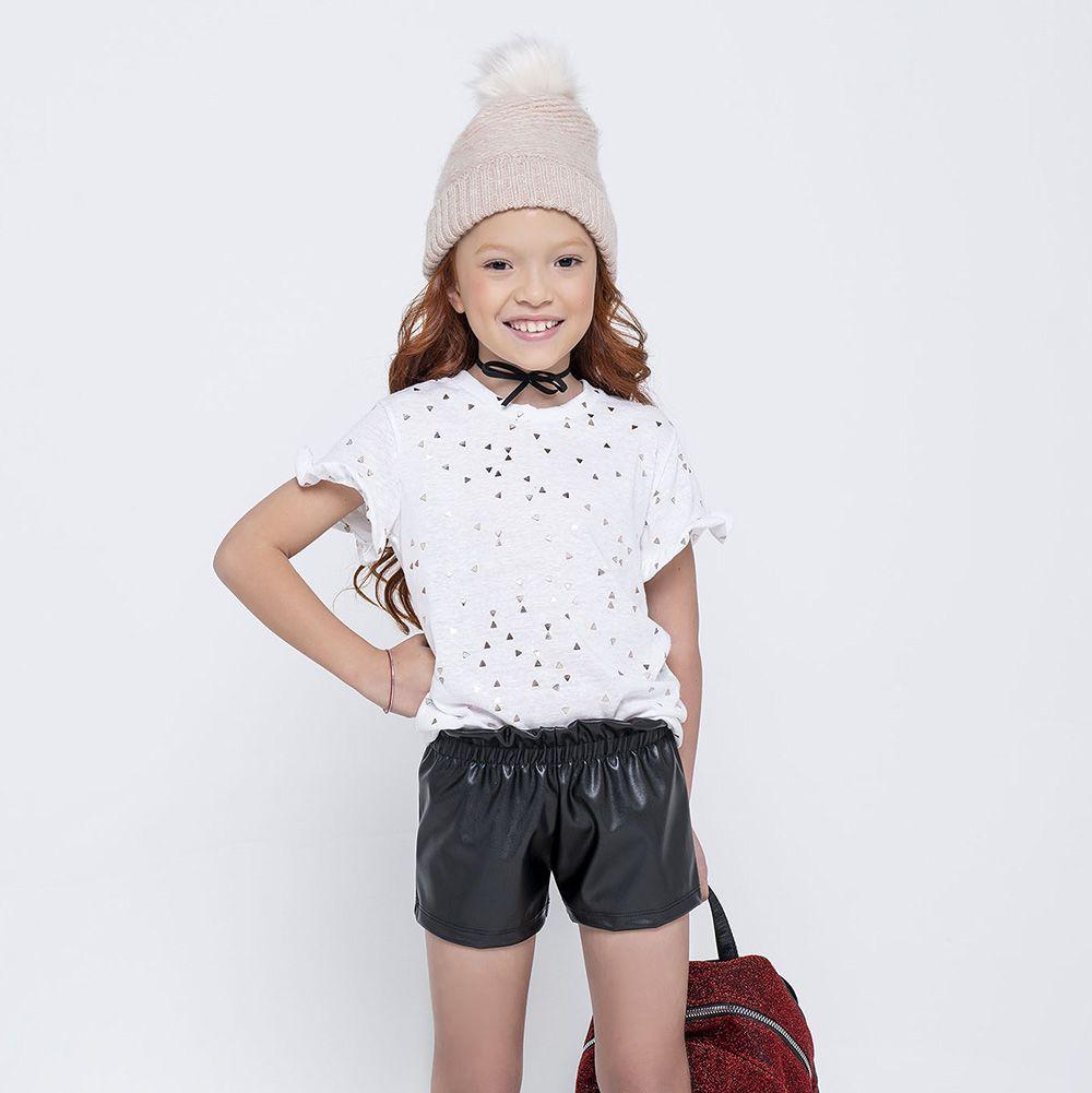 Conjunto Menina Ever Be Camiseta Branca e Short Couro 60361