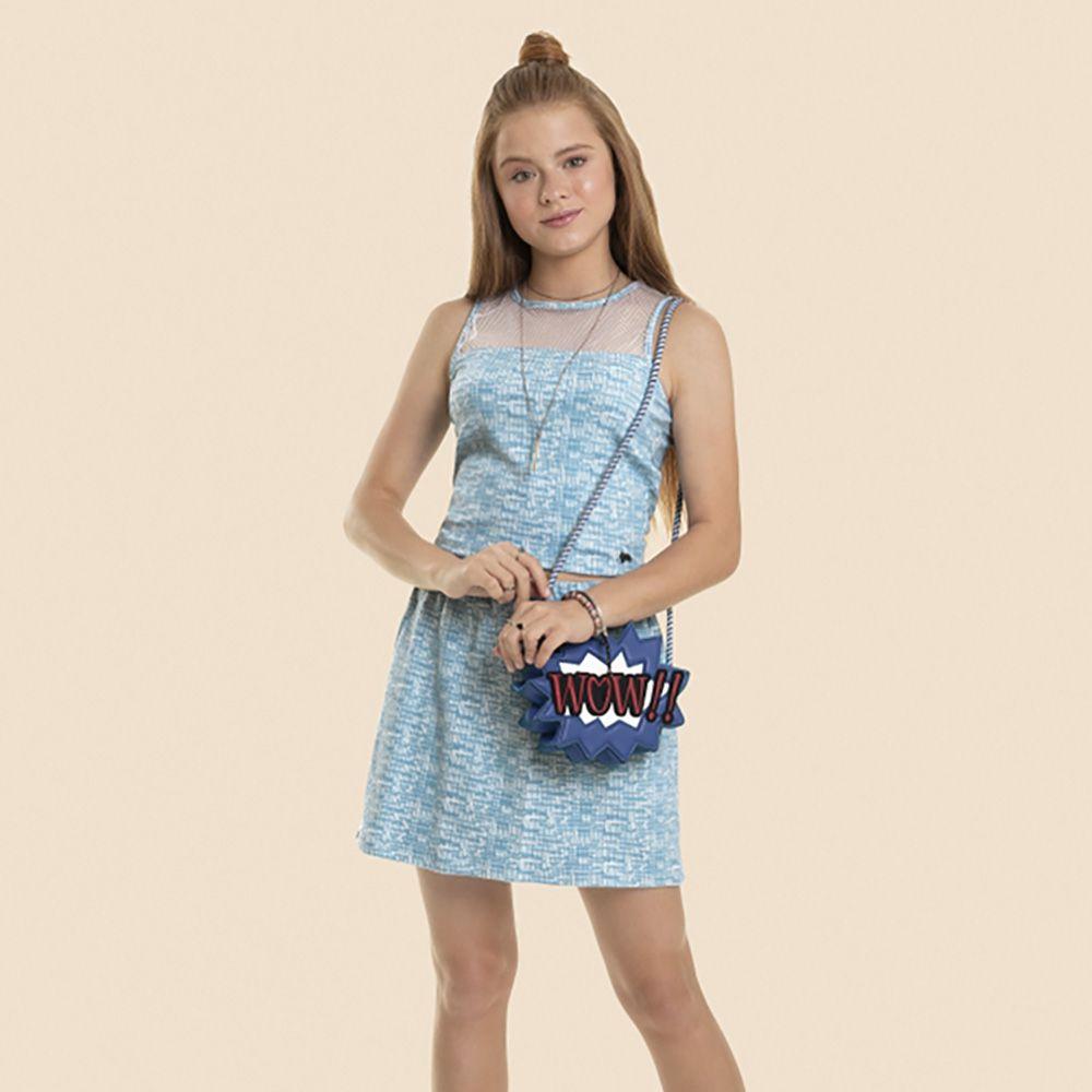 Conjunto Menina Gloss Blusa e Saia em Jacquard Azul Claro 31009