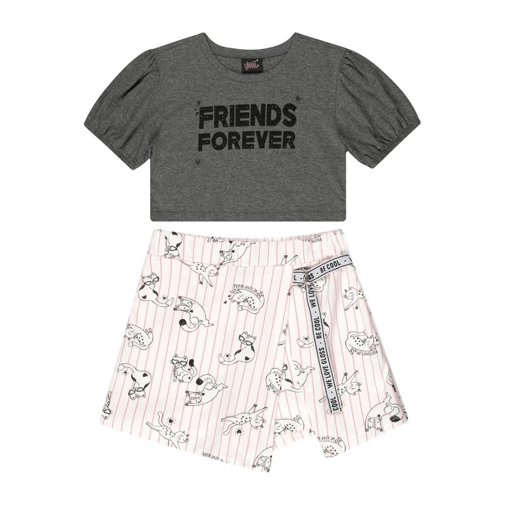 Conjunto Menina Gloss Friends Forever Mescla 37717
