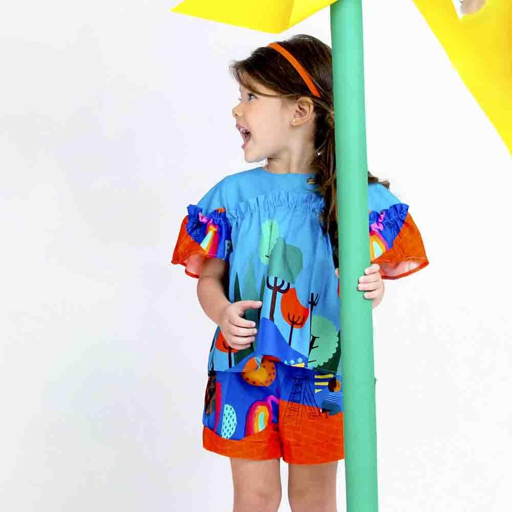 Conjunto Menina Precoce Azul Liberdade Criativa 2263