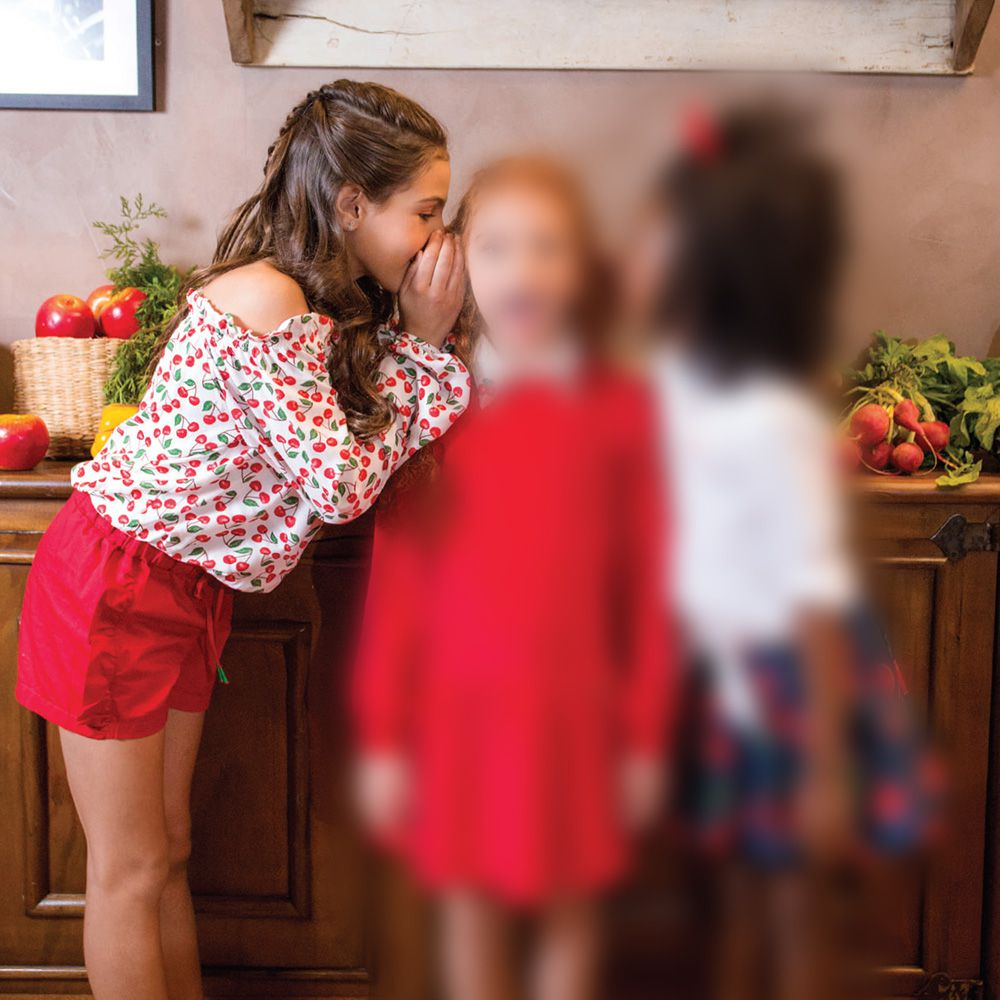 Conjunto Menina Precoce Blusa Ciganinha Cereja Mini e Short Vermelho 2138