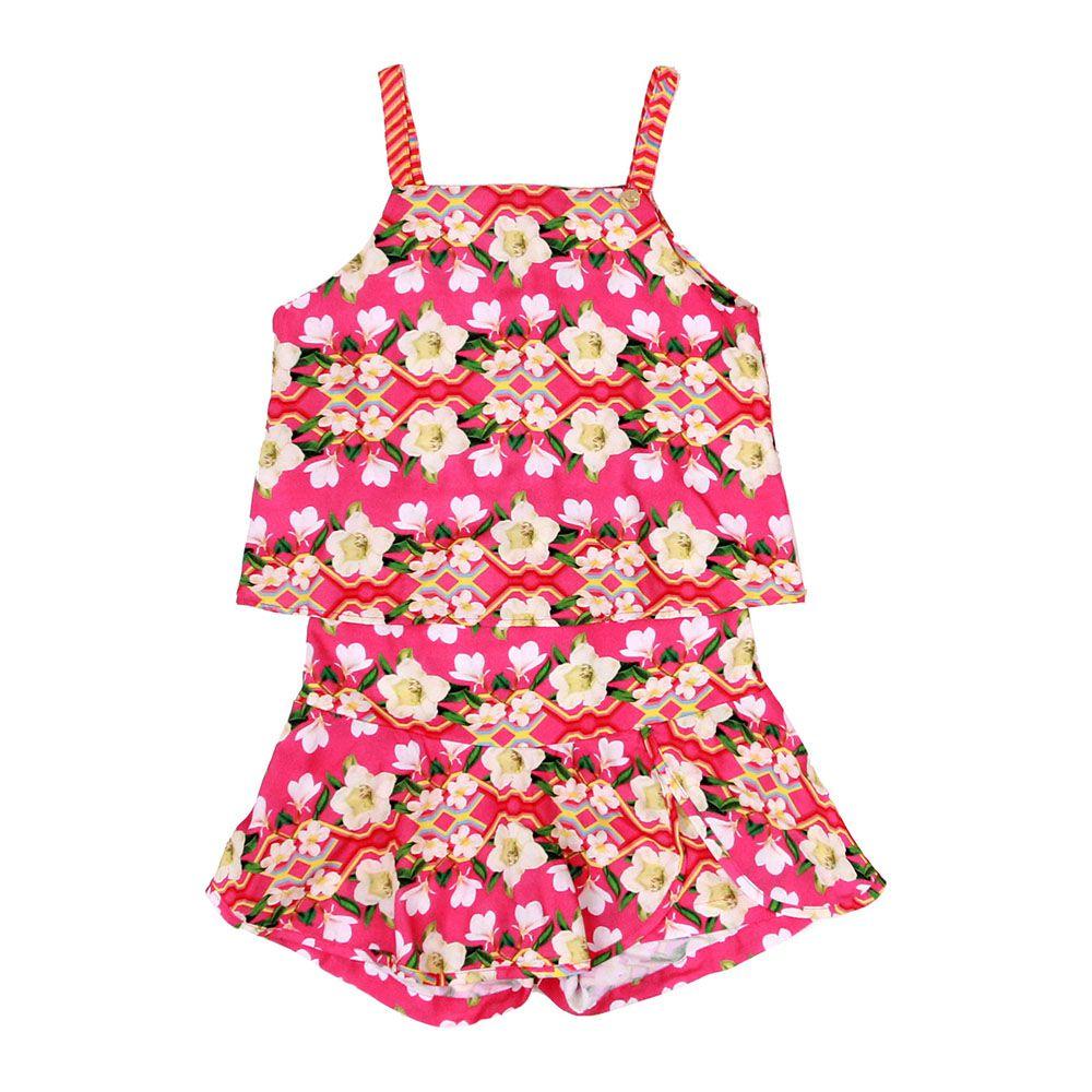 Conjunto Menina Precoce Blusa e Saia Flores Rosa 1735