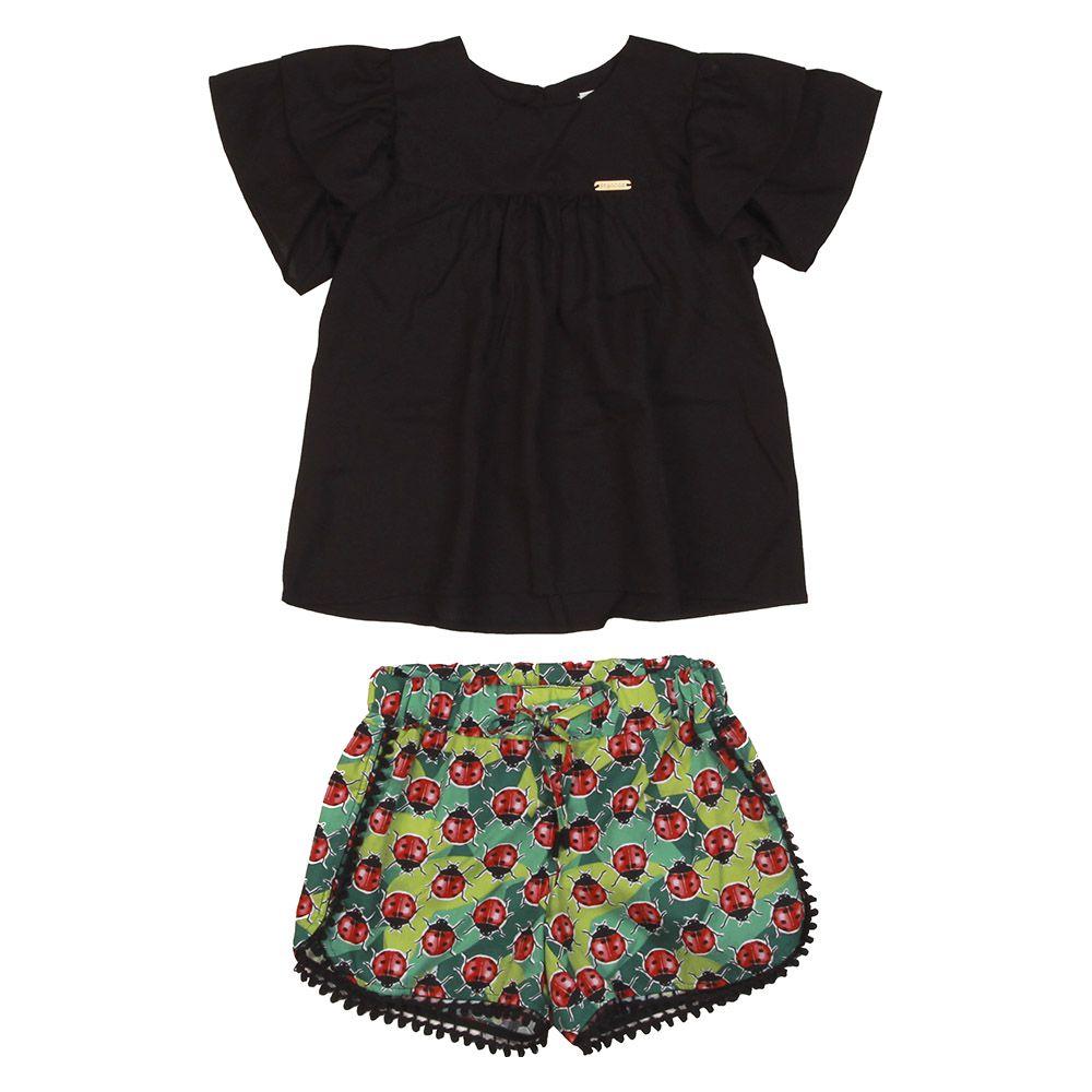 Conjunto Menina Precoce Blusa Preta e Short Joaninha 2113