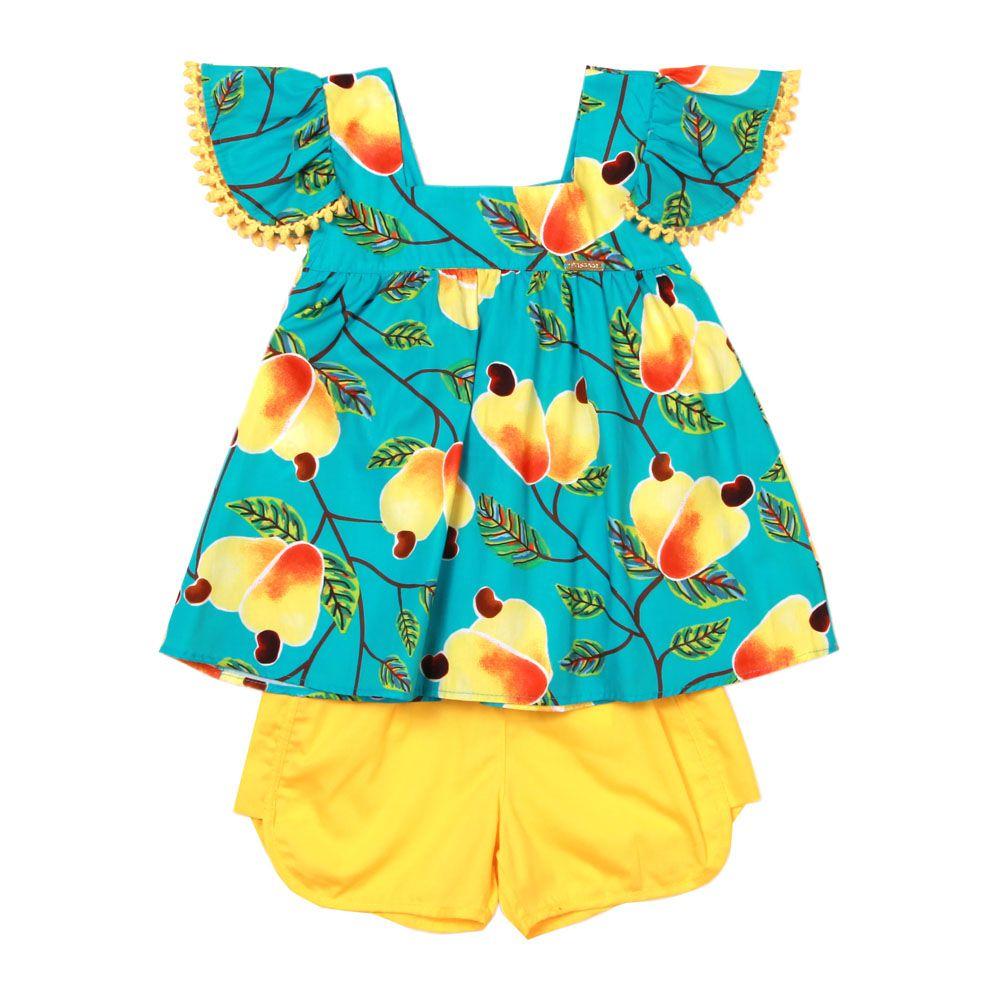 Conjunto Menina Precoce Caju e Short Amarelo 1850