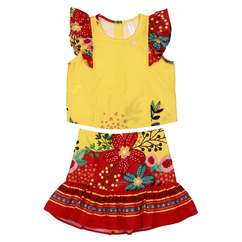 Conjunto Menina Precoce Floral Fundo Pink e Amarelo Barrado 2092