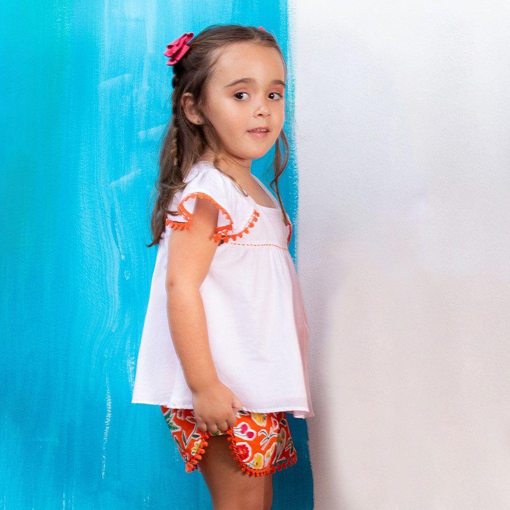 Conjunto Menina Precoce Laranja Floral Mini com Pompom 1656