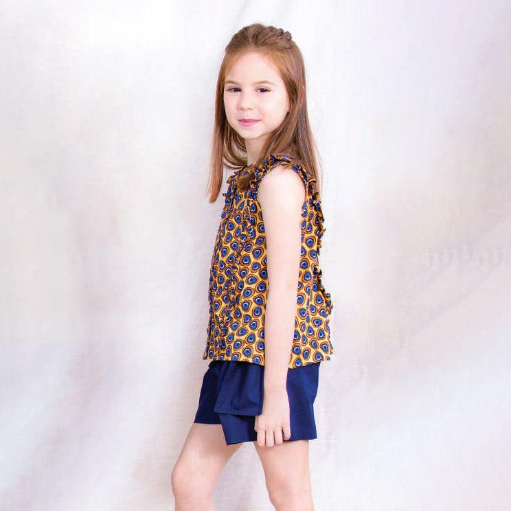 Conjunto Menina Precoce Pavão Amarelo e Short Azul 2096