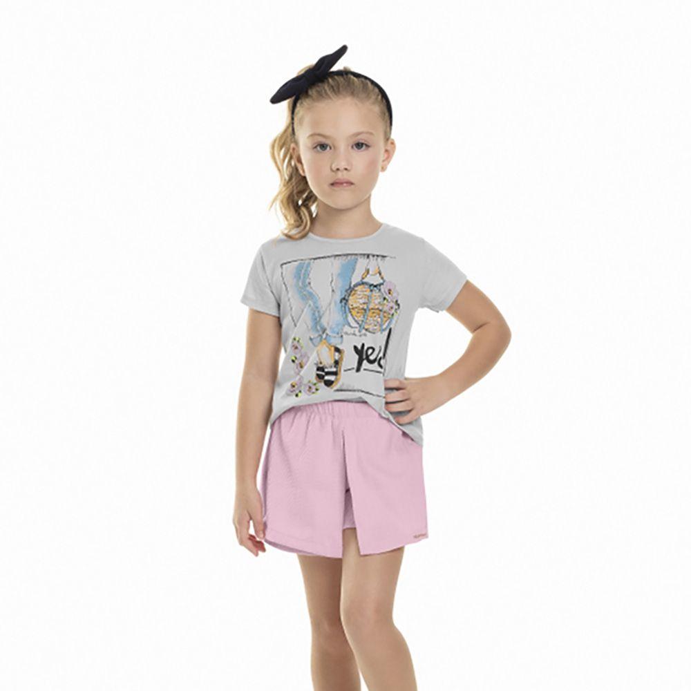 Conjunto Menina Quimby Blusa Yes St Piquet Rosa 28028