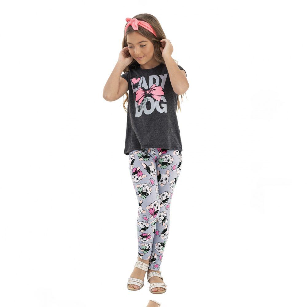 Conjunto Menina Quimby Blusa e Calça Pug 28118