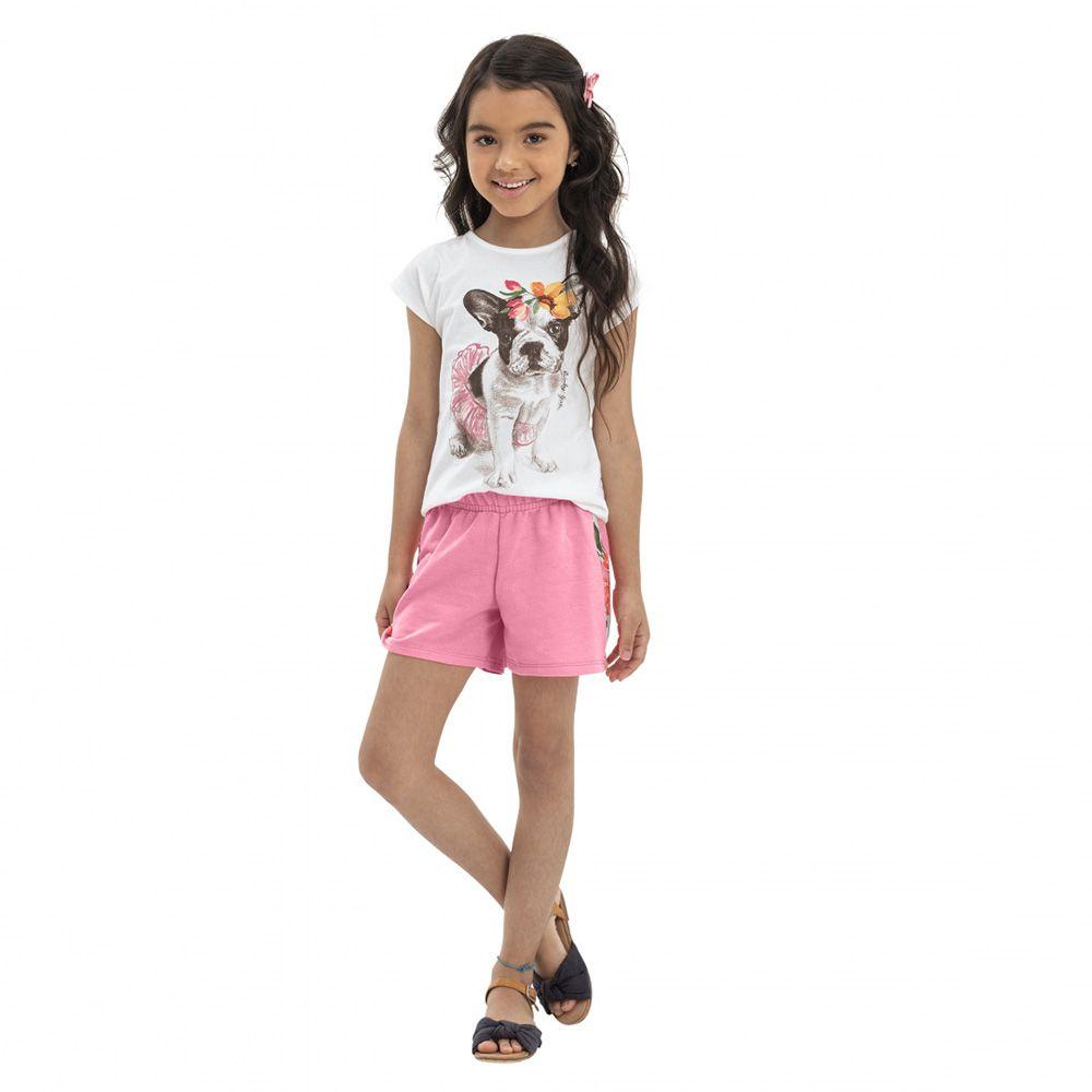Conjunto Menina Quimby Blusa Pug e Short Rosa 28101
