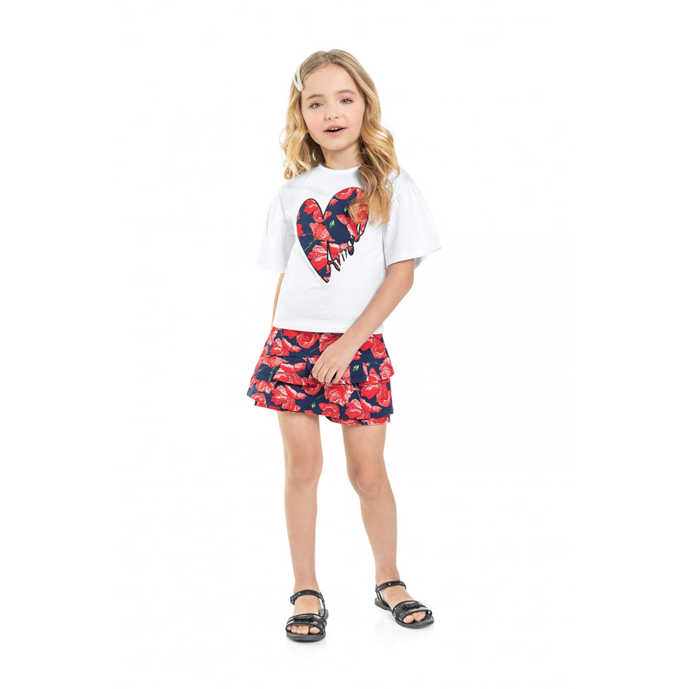 Conjunto Menina Quimby Coração Floral 28588