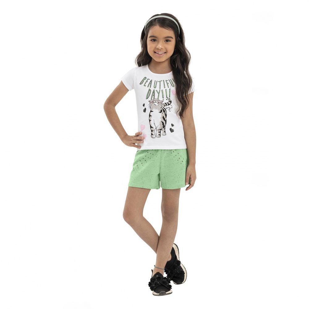 Conjunto Menina Quimby Gato e Short Verde 28095