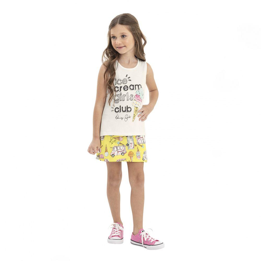 Conjunto Menina Quimby Ice Cream Amarelo 28131